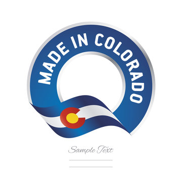 Made in Colorado flag blue color label button banner
