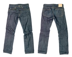 dark blue jeans on a white background