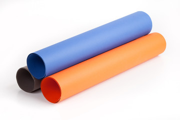 Three different color paper roll