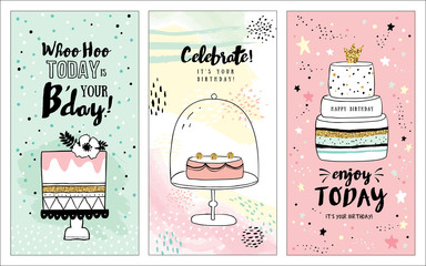 Set of birthday greeting cards with lovely cakes