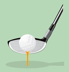 Vector realistic illustration. Golf club and  ball.