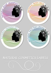 Natural cosmetics product label set. Etiquette for hair shampoo, body milk, shower gel, face day cream.