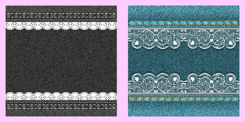 Set of two denim texture with lace.