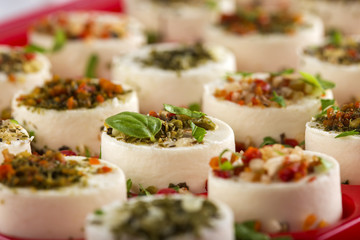Appetizers cheese with vegetables and basil