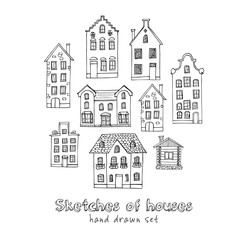 Set of hand drawn buildings. Vector illustration.