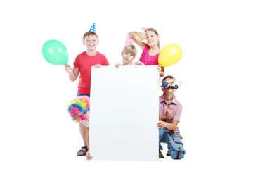 Happy childrens on white background
