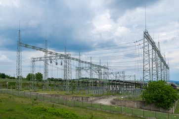 Electricity. High-voltage substation with switches and disconnectors.