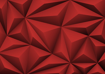 Abstract geometric red background. Folded paper in shape triangl