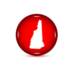 Fototapeta Map of the U.S. state of New Hampshire. Red button on a white ba obraz