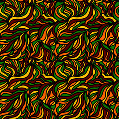 Abstract seamless pattern. Yellow, red, green colors. Bright wave texture, vector