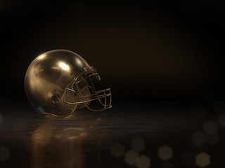 golden football helmet with dark background.3D rendering