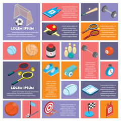 illustration of info graphic sport concept in isometric 3d graphic