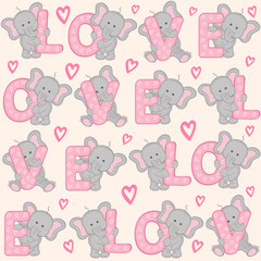 seamless pattern with cute valentine elephant - vector illustration, eps