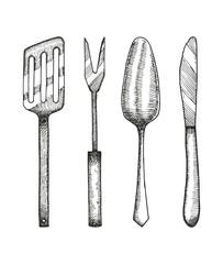 cookware set sketch. vector illustration