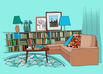 Illustration of a modern living room interior with a sofa, pillows, small coffee table, bookshelf with a lot of books, lamps, pictures and a vase.Vector design.