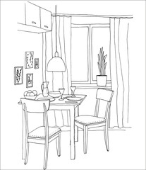 Interior hand-drawn sketch. Kitchen with a table, two chairs, window, lamp, pictures.