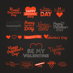 Happy valentines day greeting card logo elements on dark backgro