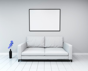 interior mockup framed poster. Sofa in an empty room with flower. 3d rendering