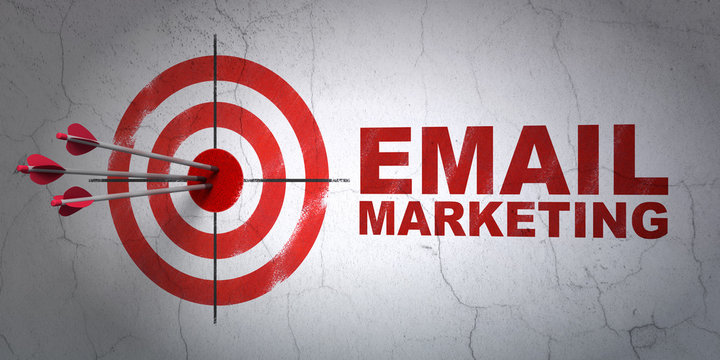 Business concept: target and Email Marketing on wall background