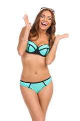 Happy Woman In Turquoise Swimwear Shouting