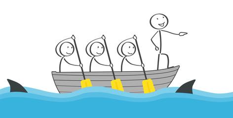 Strichmännchen Team in einem Boot auf dem Wasser umgeben von Haien Lösung mit Teamwork
