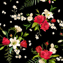 Vintage Rose and Lily Flowers Background. Spring and Summer Seamless Pattern