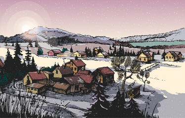Hand Drawn Vector Illustration, with a Winter Landscape, the Trees and  Rural Lodge , - .  for your application , project.