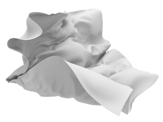 Flying white silk fabric with folds