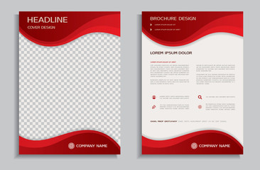 Flyer design template - brochure with red wavy background, front and back page