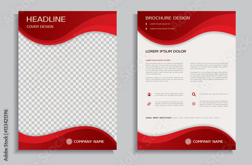Flyer Design Template Brochure With Red Wavy Background Front And