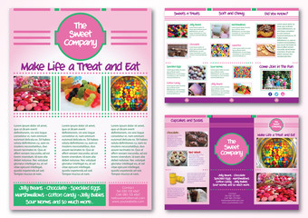 Sweet Shop or Bakery Layout Template Pink Purple and Green