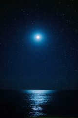 the full moon in the starry sky ,the moonlight on the sea