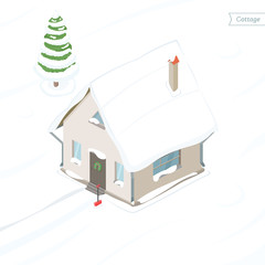 Country house in snow. Isometric view. Snow covered fir tree and cottage. Vector illustration.