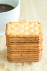 Stacked Biscuits on wooden background