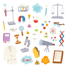Science lab icons vector illustration.