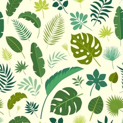 Vector seamless pattern tropical leaves. Palm leaf, banana leaf. Jungle trees.Botanical (floral) background. Bright and colorful wallpapers