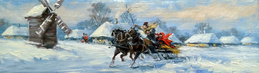 Winter and horses,oil paintings