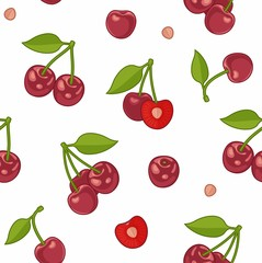 Seamless background with cherries