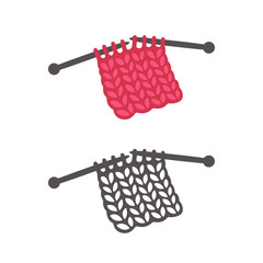 Knitting with needles illustration