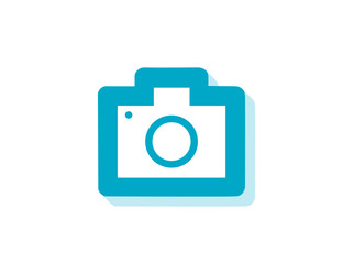 Vector flat photo camera modern icon with long shadow