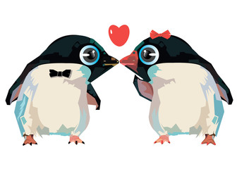 penguin, cute, illustration, vector, cartoon, white, black