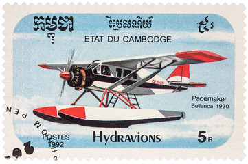 American seaplane Bellanca Pacemaker (1930) on postage stamp