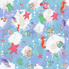 Seamless pattern with sea inhabita