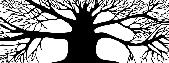 Vector. Graphic representation of the silhouette black tree on a white background.  horizontal abstract graphic banner wood.