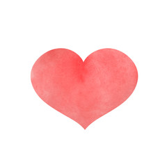 Watercolor red heart for Valentine's day. Vector