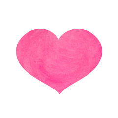 Watercolor pink heart for Valentine's day. Vector