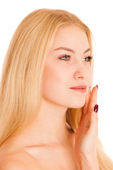 skin care - beautiful young woman nurturing her skin isolated ov