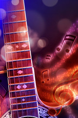 Illustration acoustic guitar with black red and blue background