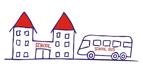 bus and school, vector icon, sketch
