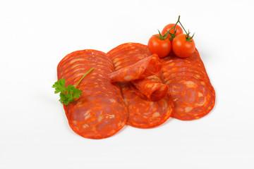 chorizo salami and cherry tomatoes
